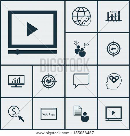 Set Of Seo Icons On Conference, Keyword Marketing And Seo Brainstorm Topics. Editable Vector Illustr