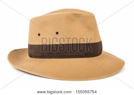 Adventure concept. Fedora hat isolated on white.