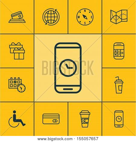 Set Of Airport Icons On Plastic Card, Call Duration And Credit Card Topics. Editable Vector Illustra