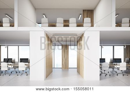 Two storey office with lots of conference rooms and open office areas. Concept of no privacy and low work efficiency. 3d rendering. Mock up.