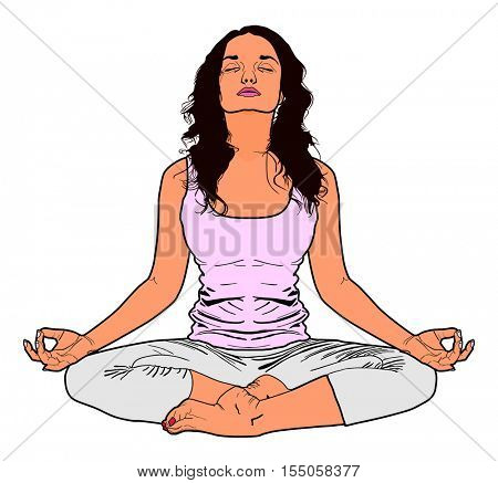 Vector Yoga Young Women Practice exercise relaxing human body nature Fitness class pose Meditation and clearing mind from life pressure Freedom concept Attractive girl practicing