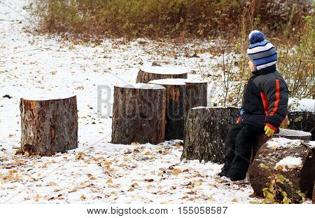 happy baby sitting on stub in forest winter
