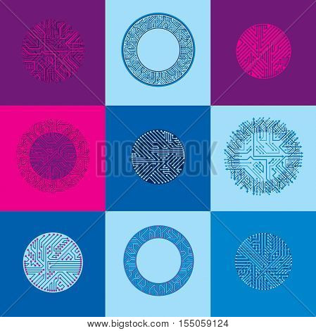 Vector Abstract Computer Circuit Boards Collection, Round Technology Elements With Connections And A