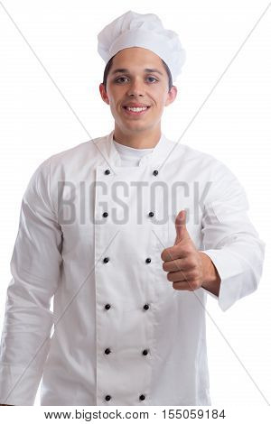 Cook Apprentice Trainee Cooking Thumbs Up Job Young Man Isolated