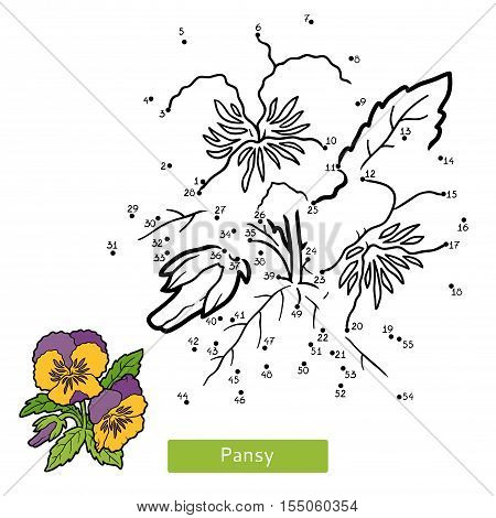 Numbers game, education dot to dot game for children, flower Pansy