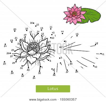 Numbers game, education dot to dot game for children, flower Lotus