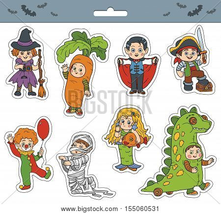 Vector set of Halloween children characters, color cartoon collection, colorful Stickers with children in carnival costumes