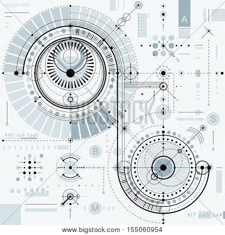 Technical plan engineering draft. Vector drawing of industrial system with mechanical parts for use in graphic and web design.