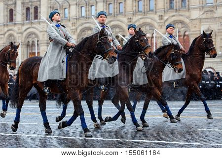 MOSCOW RUSSIA - NOVEMBER 05 2016: Full-dress rehearsal of the parade dedicated to November 7 1941 on Red Square in Moscow.