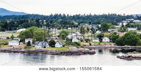 Homes Along Coast of Victoria British Columbia