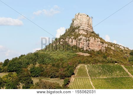Rock of Solutre with vineyards, Burgundy, France