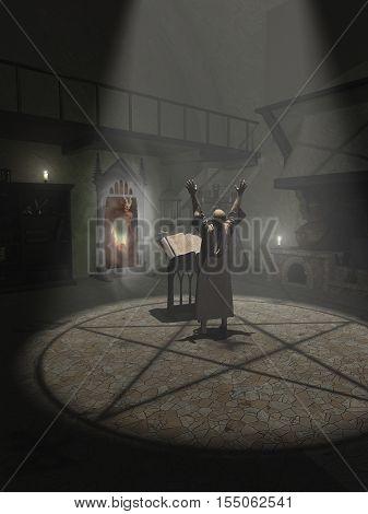 Fantasy illustration of an Alchemist summoning a demon in his study, digital illustration (3d rendering)