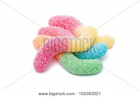 holiday jelly candies isolated on white background