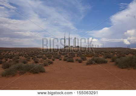 A view towards the Salt River Project-Navajo Generating Station, Page, Arizona