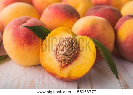 Juicy And Ripe Peach Fruits