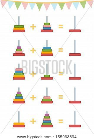Counting Game For Children. Addition Worksheets, Toy Pyramid