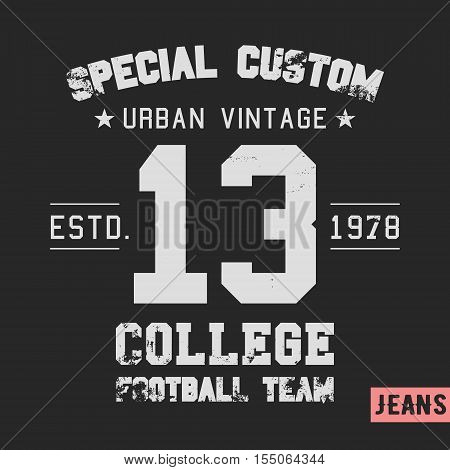 T-shirt print design. College team vintage stamp. Printing and badge applique label t-shirts jeans casual wear. Vector illustration.
