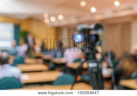 Abstract Blurred Image Of Video Camera Recording In Conference Meeting