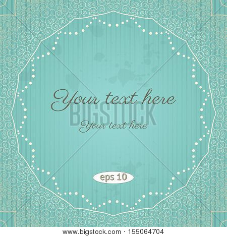 Vector vintage background. Filigree frame striped paper and blots. Place for your text.
