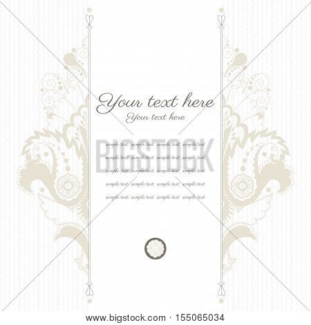 Vector card. Vintage damask pattern. Place for your text. Easy to change colors.