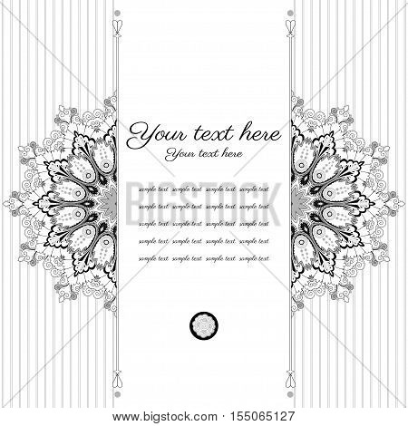 Vector card. Vintage round damask pattern. Black white and gray. Place for your text.