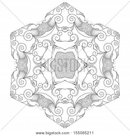 Abstract round lace gentle pattern.Resembles a snowflake.