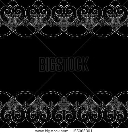 Vector seamless background. Decorative border with hearts. Suitable for congratulations on Valentine's Day or design for wedding. Easy to change colors.