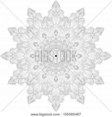 Round lace pattern. Floral damask ornament. Design contains many detail. All the elements separately. Wide applicability.