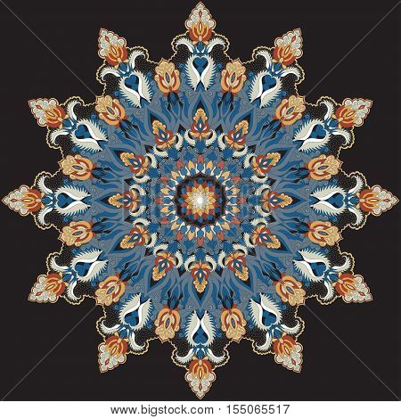 Round vector pattern. Floral damask ornament. Design contains many elements. Easy to change colors.