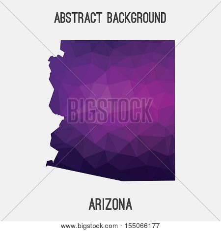 Arizona map in geometric polygonal,mosaic style.Abstract tessellation,modern design background,low poly. Vector illustration.