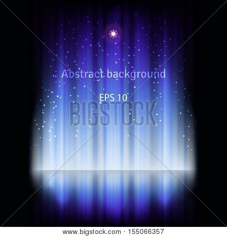 Abstract vector glowing dark background with ray of light.
