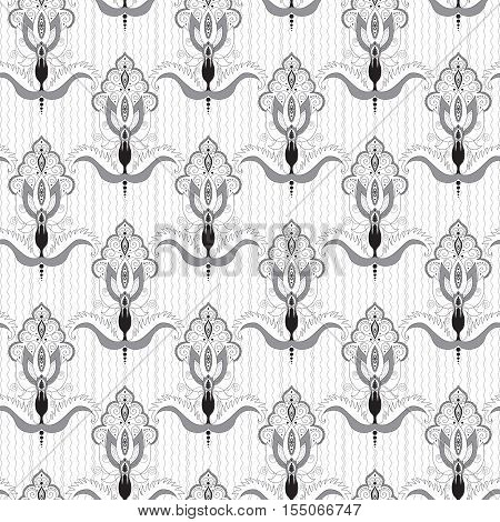 Seamless vector background. Ornate damask pattern. Illustration in black white and gray. Easily edit the colors.