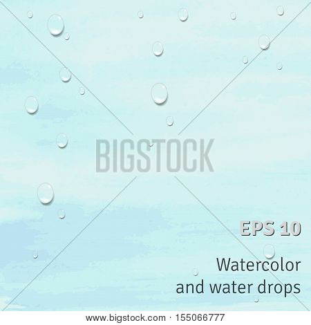 Vector abstract background. Drops of water on watercolor stains.