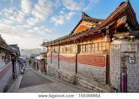 Traditional Korean Style Architecture At Bukchon Hanok Village In Seoul, South Korea