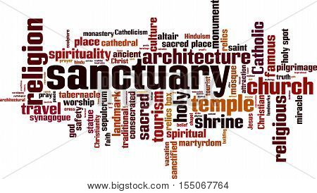 Sanctuary word cloud concept. Vector illustration on white