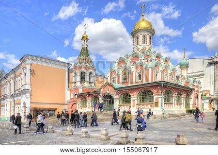 MOSCOW RUSSIA - April 24.2016: Recycled Kazan Cathedral on Red Square in Moscow city center
