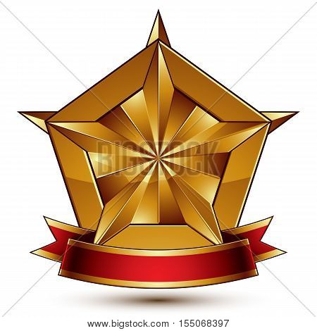 Vector glorious glossy design element luxury 3d pentagonal golden star placed on a decorative blazon