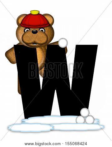 Alphabet Teddy Wintertime W