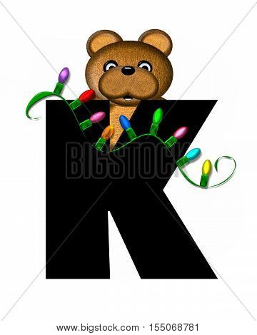 Alphabet Teddy Christmas Lights K