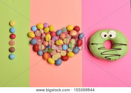 Funny Glazed Donut On Colorful Background