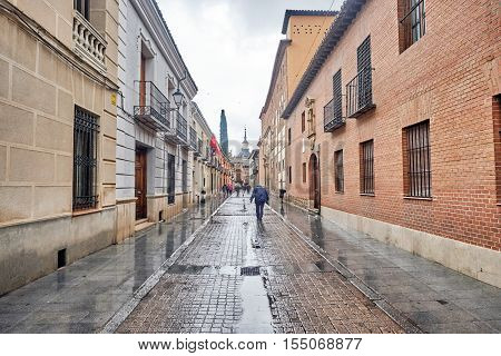 ALCALA DE HENARES, MADRID, SPAIN. November 5, 2016, Imagen street in the rain