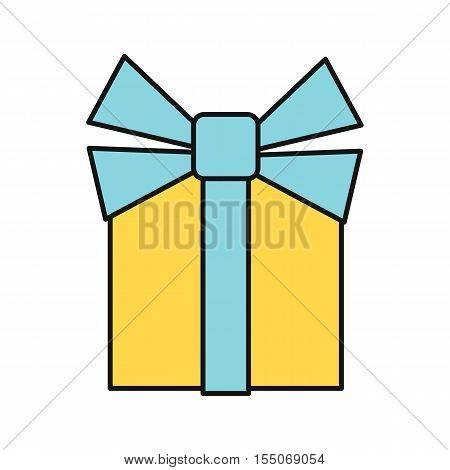 Gift box icon. Single yellow gift box with blue ribbon. Business design element. Design element, sign, symbol, icon in flat. Isolated object on white background. Vector illustration.
