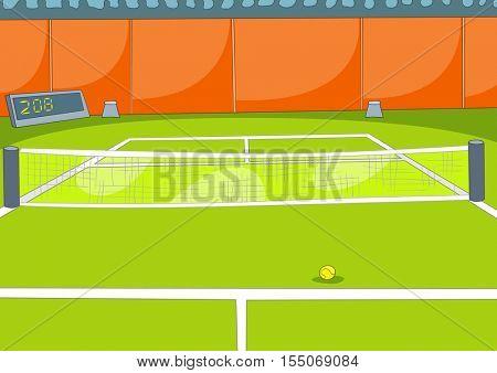Hand drawn cartoon of sports tennis court. Cartoon background of sport stadium. Background of sports tennis arena. Cartoon of empty outdoor tennis court. Background of lawn tennis court with net.