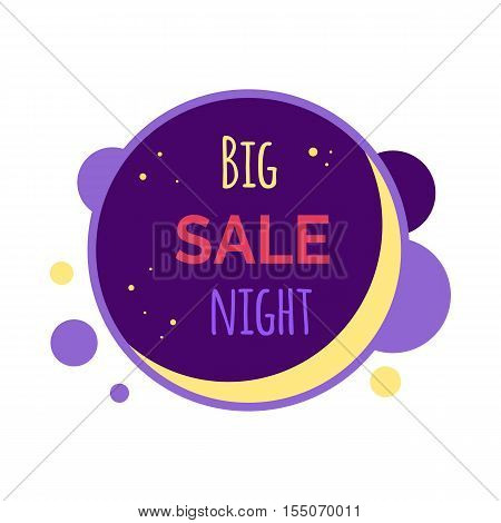 Sale sticker vector illustration. Flat style. Round bright sticker with big sale night text. For store goods sales and discounts advertising. Product label design. Black friday. On white background