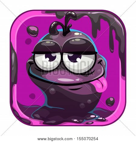 App icon with funny black slimy monster. Vector game asset for application store.