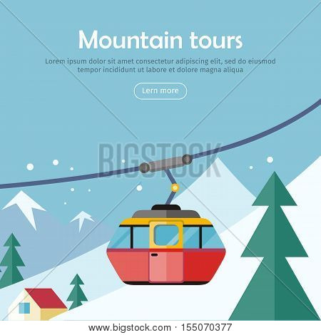 Mountain tours conceptual web banner. Funicular railway, cable railway car on winter landscape background. Ski lift, trolley car, transportation tourism, travel cabin, winter vacation, ropeway. Vector
