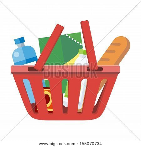 Illustration of red shopping basket with different products. One plastic shopping basket. Shopping basket icon. Isolated object in flat design on white background. Vector illustration.