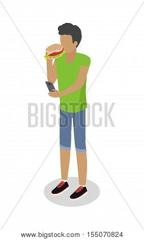 Street food buyer isolated. Man in casual cloth ears hot dog. Cartoon character with unhealthy food. Concept illustration for street food consumption. Quick snack. Fast food. Vector in flat design
