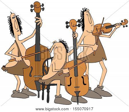 Illustration of three cavemen playing a double bass, cello and a violin.