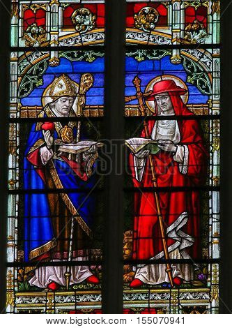 Saints Augustine And Jerome - Stained Glass